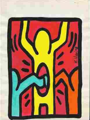 Keith Haring Mix Media Drawing Signed. New York