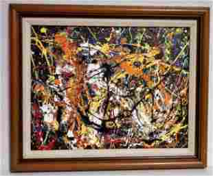 Jackson Pollock Abstract Painting on Cardboard with Ant