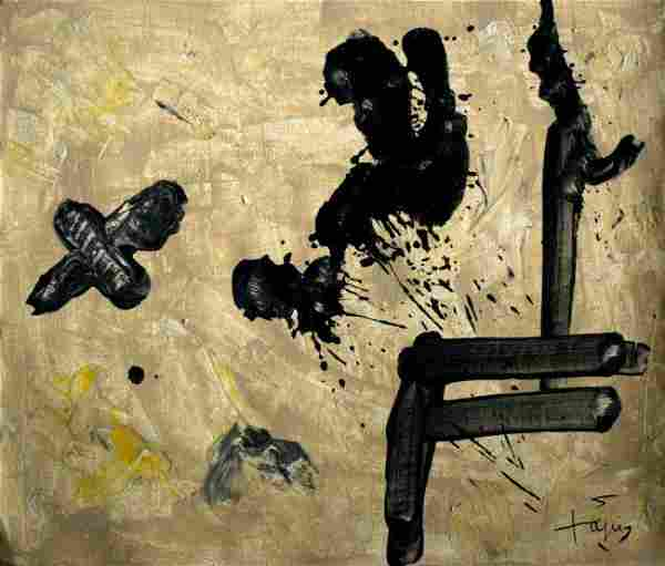 Modern abstract oil on canvas signed Antoni Tapiz; 13