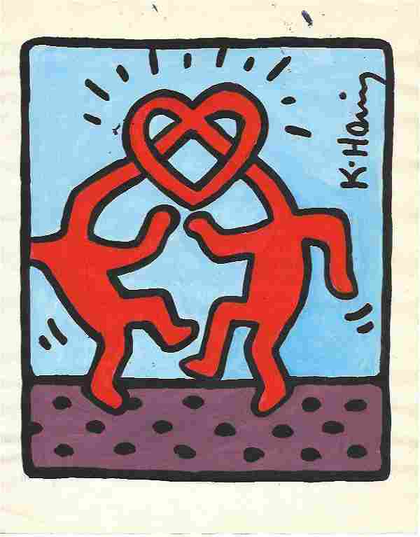 Signed KEITH HARINGMixed Media on Paper