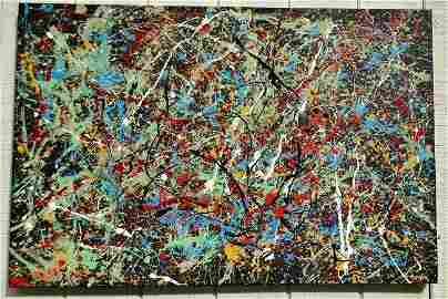 Jackson Pollock Abstract Painting on Canvas -Approx