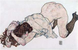 Egon Schiele Print ON PAPER . Provenance :NY Collector.