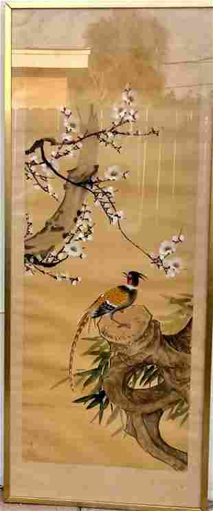 Chinese Bird Painting on Silk Paper mounted Metal