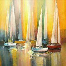 Abstract sail boat on sea Painting on canvas