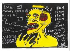 Jean Micheal Basquiat Print on Thick Paper . Provenance