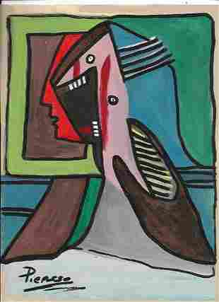 Mixed Media Pablo Picasso on Thick Paper. Approx Size: