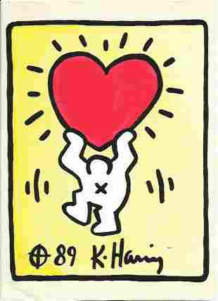 Keith Haring Mixed Media on Paper. Approx Size: 11 1/2