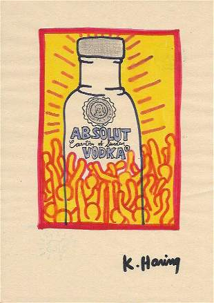 Keith Haring Mixed Media on Paper