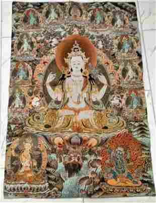 Chinese Embroidery Tibet Thangka, figure of the Buddha;