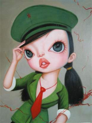Modern Oil Painting on Canvas Big eyes Lady