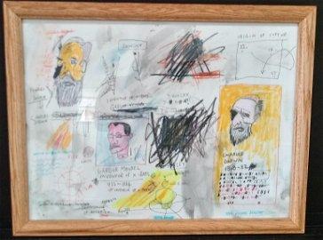 Jean Michel Basquiat Drawing on Paper
