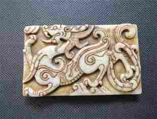 Old China White jade hand-carved dragon Pendants.