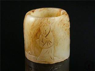 Antique Chinese Nephrite Celadon Jade Carved Ring
