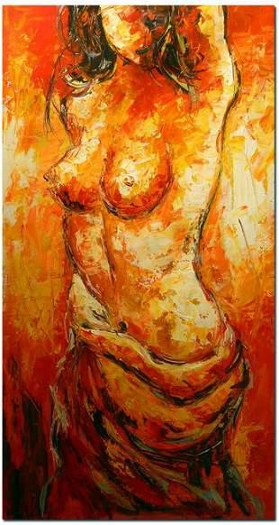 Female Nude Impressionist Portrait Oil Painting On