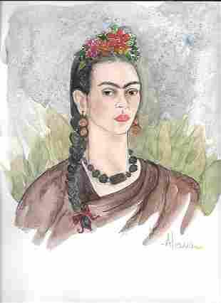Frida Kahlo Painting Folkart mix media watercolor