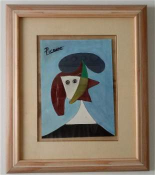 Pablo Picasso Painting on Paper Framed w/ glass Aprox