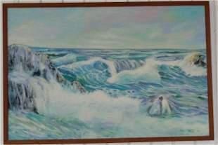 Landscape Fisherman Painting On Canvas Framed. size: 37