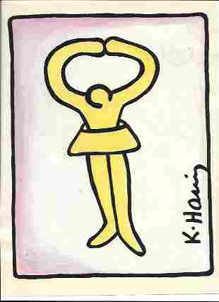 Keith Haring Mix Media Drawing Signed.Private