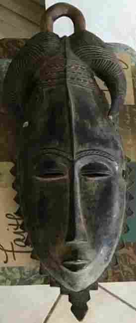 Original African Mask Wood Carved. Size: 20 x 9 1/2.
