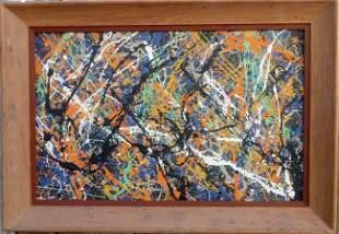 Jackson Pollock Abstract Painting on Cardboard