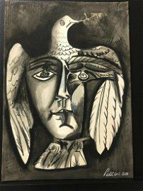 PABLO PICASSO-HEAD AND DOVEDove 1951-(After) Drawing