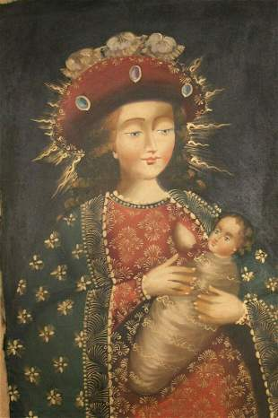 Religious Virgin and Child. Unframed Oil on Canvas Pai