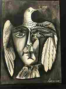 PABLO PICASSO (After)-Head and Dove 1951-ART