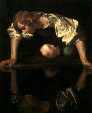 Caravaggio-Narcissus oil painting art on canvas.