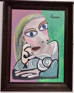 Pablo Picasso Painting on Board