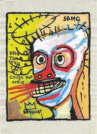 Jean Michel Basquiat Mixed Media Print on Paper.