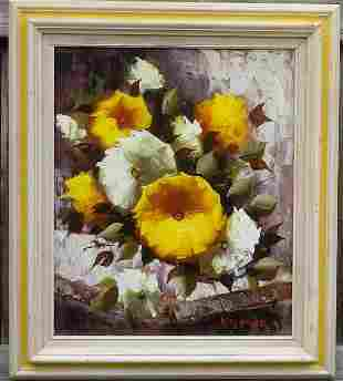 Pastel Flower Painting on Canvas signed