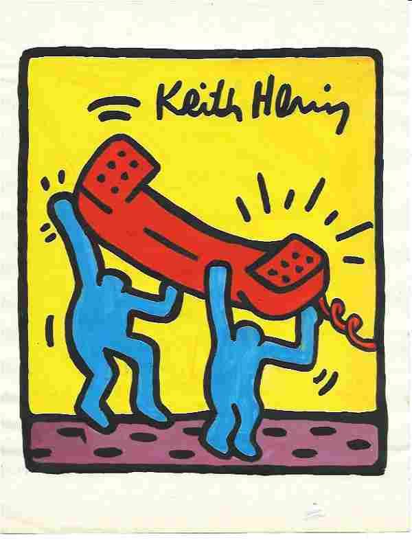 Keith Haring Mix Media Drawing