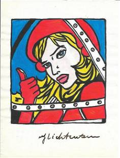 The Style of Roy Lichtenstein drawing on Paper.