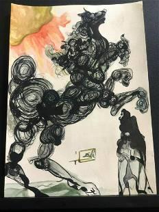 Salvador Dalì - Caballo de Troya 1983 Drawing