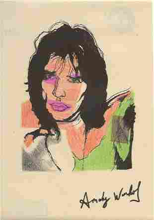 Signed Andy Warhol Mixed Media on Paper. Approx Size: