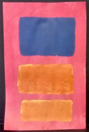 Mark Rothko Mixed Media Painting on Paper.