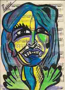 Mixed Media Pablo Picasso Drawing on Paper Music Notes.