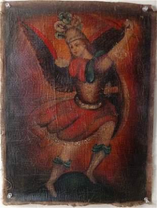 Peruvian Cusco Folk Art Oil Painting on Canvas that