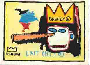Jean Michel Basquiat Mixed Media Drawing on Paper