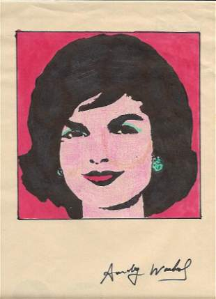 Signed Andy Warhol Mixed Media on Paper