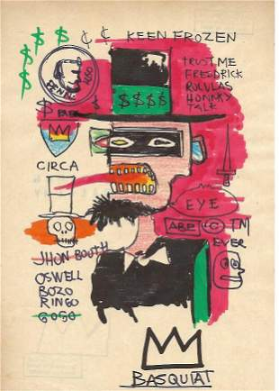 Jean Michel Basquiat Mixed Media Drawing on Paper.