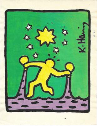 KEITH HARING DRAWING ON PAPER SIGNED . Provenance :NY