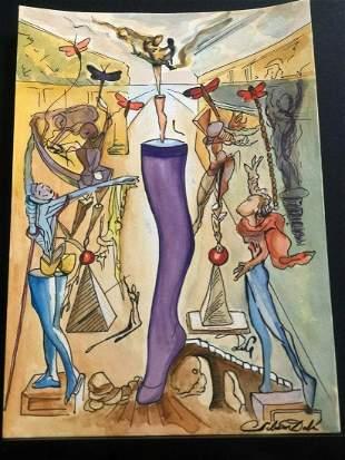 Salvador Dalì -Drawing and watercolor