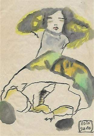 EGON SCHELE DRAWING ON PAPER SIGNED AND SEALED ON PAPER