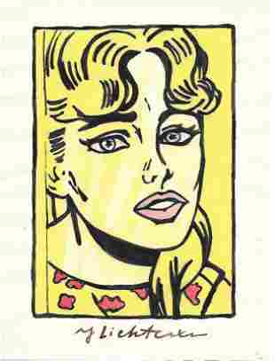 The Style of Roy Lichtenstein drawing on Paper.Size 11
