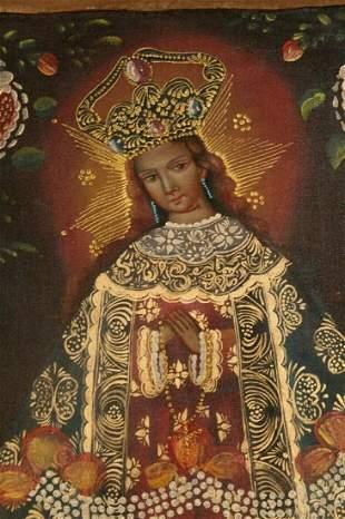 Religious Virgin . Unframed Oil on Canvas