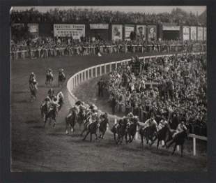 B&W 1955 FRENCH RACEHORSE PHIL DRAKE WINS EPSOM DERBY
