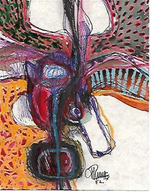 J Rivera New York Mixed Media Abstract original hand