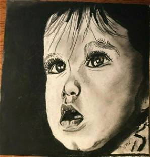 Outsider Charcoal drawing of Infant Original drawing