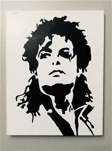 MICHAEL JACKSON Acrylic painting Black & White